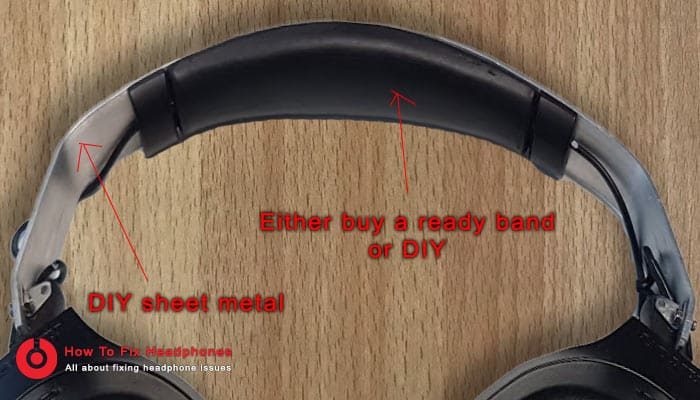 sheet metal fixed headphone band