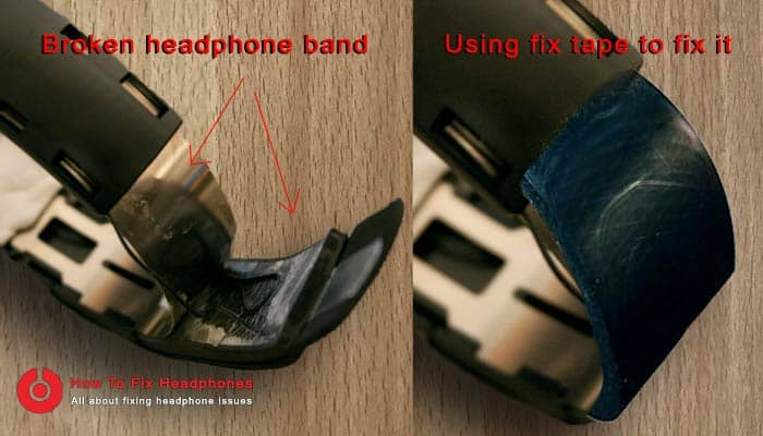 fix headphone band using fix tape