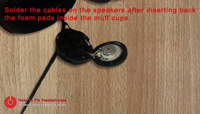 solder cables into speakers